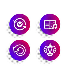 Approved music book and recovery data icons set vector