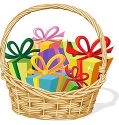 Basket full of gift isolated on white vector