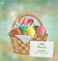 Basket with easter eggs tulip and grass vector