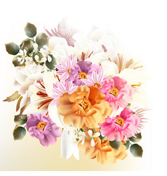 beautiful bouquet flowers for design vector image