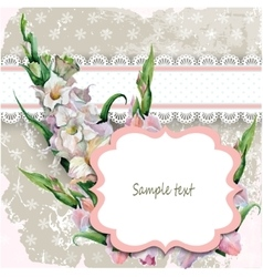 Beautiful vintage card with a hand painted flower vector