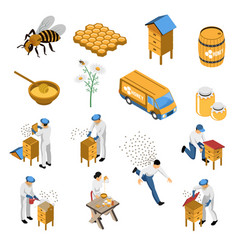 beekeeper honey isometric set vector image