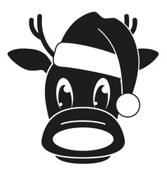 Black and white reindeer head in hat silhouette vector
