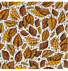 Cartoon cute hand drawn autumn seamless pattern vector