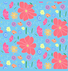 cartoon cute pattern with colorful doodle flowers vector image