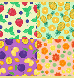 cartoon fresh pineapple fruits in flat style vector image