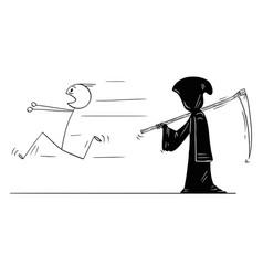 Cartoon man running away from grim reaper or vector