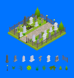cemetery and elements concept 3d isometric view vector image