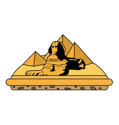 Color giza egypt sculpture architecture pyramids vector