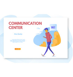 Communication center landing page layout teenager vector