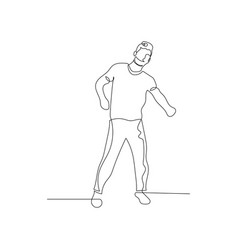 Continuous one line dancing man vector