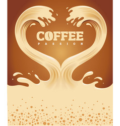 Couple coffee waves creating heart shape vector
