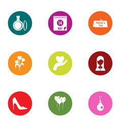 courtship icons set flat style vector image