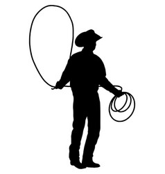 cowboy with lasso rope silhouette vector image