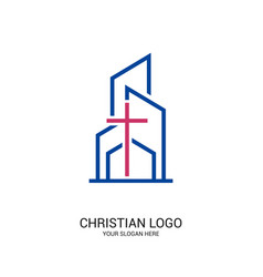 Cross on the background of buildings vector