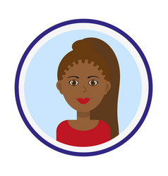 Cute black woman portrait on blue background vector