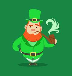 cute cartoon dwarf leprechaun standing with vector image