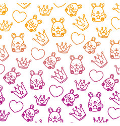 degraded line metal crown with heart and mice vector image