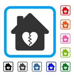 Divorce house heart framed icon vector