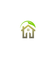 eco green leaf house logo vector image