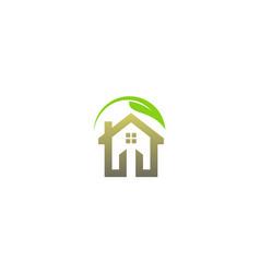 Eco green leaf house logo vector