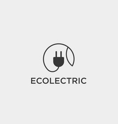 electrical leaf simple line logo template icon vector image