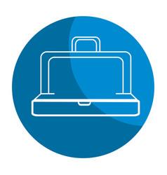 Emblem elegant suitcase open vector