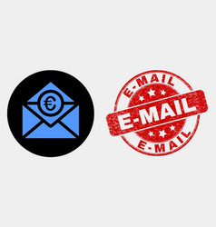 euro mail icon and grunge e-mail seal vector image