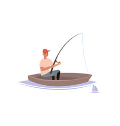 fisherman caught fish with fishing rod male vector image