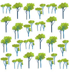 Garden green trees vegetation seamless pattern vector