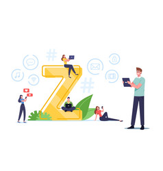 Generation z concept characters virtual messaging vector
