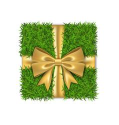 Gift box 3d green grass box top view gold ribbon vector