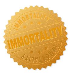 Golden immortality medallion stamp vector