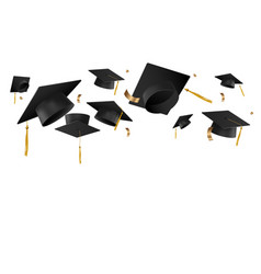 Graduation caps in air template vector