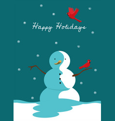 greeting card with a snowman and a red cardinal vector image