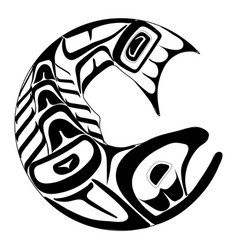 haida salmon tattoo ornament in haida style vector image