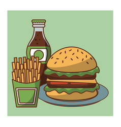 Hamburger fast food combo vector