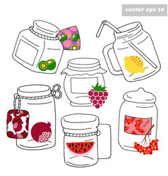 hand drawn jars with fruits vector image