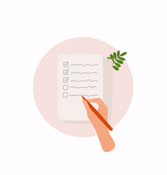 hands holding paper sheet with check list vector image