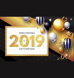 Happy new 2019 year shining greeting card with vector