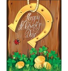 Happy St Patricks Day Shamrock horseshoe vector