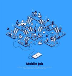 isometric banner mobile job vector image