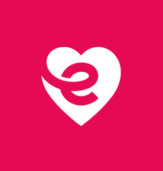 letter e heart logo icon design template elements vector image