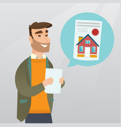 Man reading real estate advertisement vector