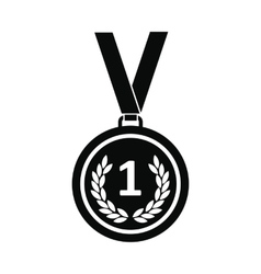 Medal black simple icon vector image vector image
