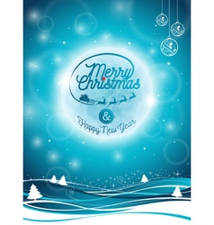 Merry Christmas Holiday with santa and deers vector image