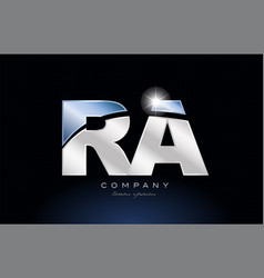 Metal blue alphabet letter ra r a logo company vector