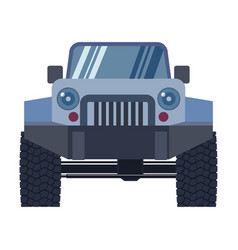 offroad vehicle with mud tyres front view vector image