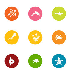 offshore icons set flat style vector image
