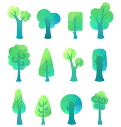 Ornate geometric trees vector image